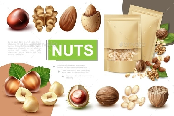 Realistic Healthy Nuts Composition - Food Objects