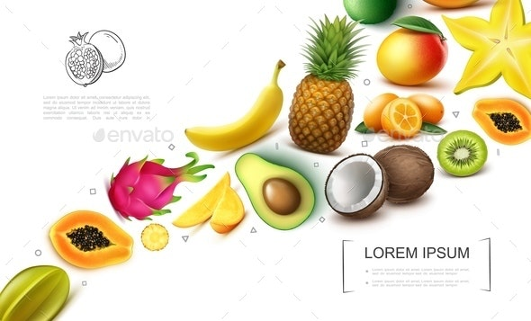 Realistic Exotic Fruits Collection - Food Objects