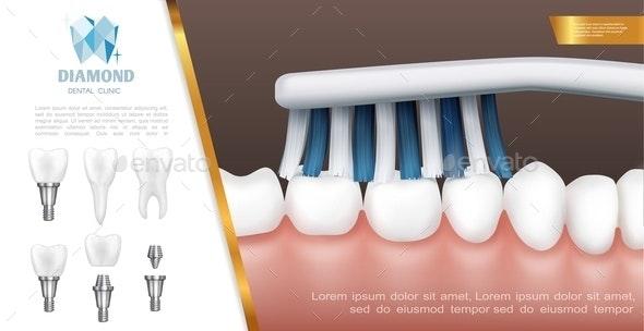 Realistic Dental Health Concept - Health/Medicine Conceptual