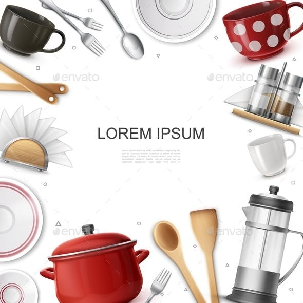 Realistic Dishware And Utensils Concept