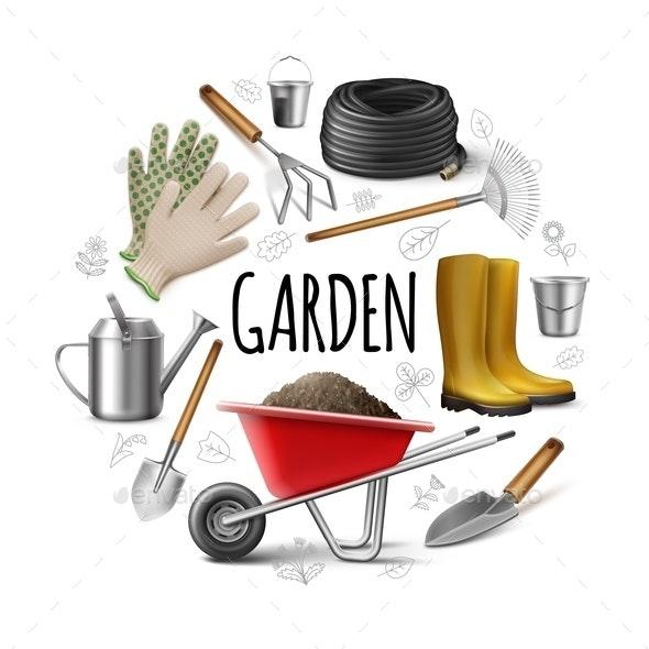 Realistic Garden Round Concept - Miscellaneous Vectors