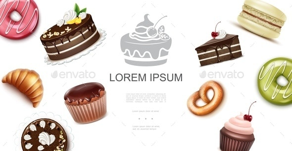 Realistic Sweet And Baking Products Template - Food Objects