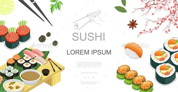 Isometric Japanese Food Colorful Template - Food Objects