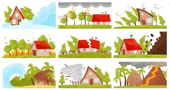 Flat Vectoe Set of Natural Disasters. Wildfire - Nature Conceptual