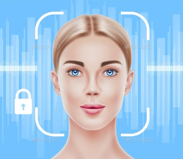 Vector Face Recognition Biometric Scanning of Girl - Technology Conceptual