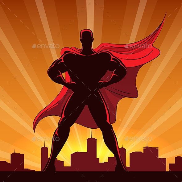 Superhero Silhouette in Red Cape - People Characters