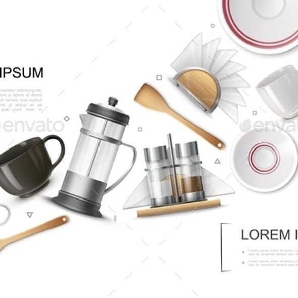 Realistic Kitchenware Elements Set