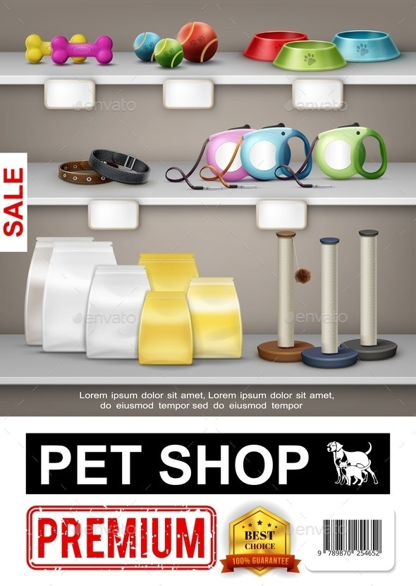 Realistic Pet Shop Poster - Animals Characters