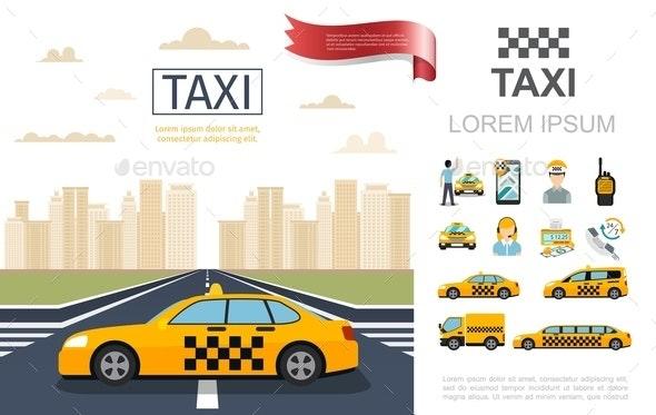 Flat Taxi Service Composition - Miscellaneous Vectors