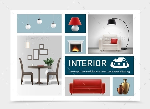 Realistic Classic Interior Elements Collection - Miscellaneous Vectors