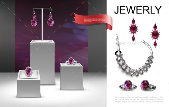 Realistic Jewelry Composition - Miscellaneous Vectors