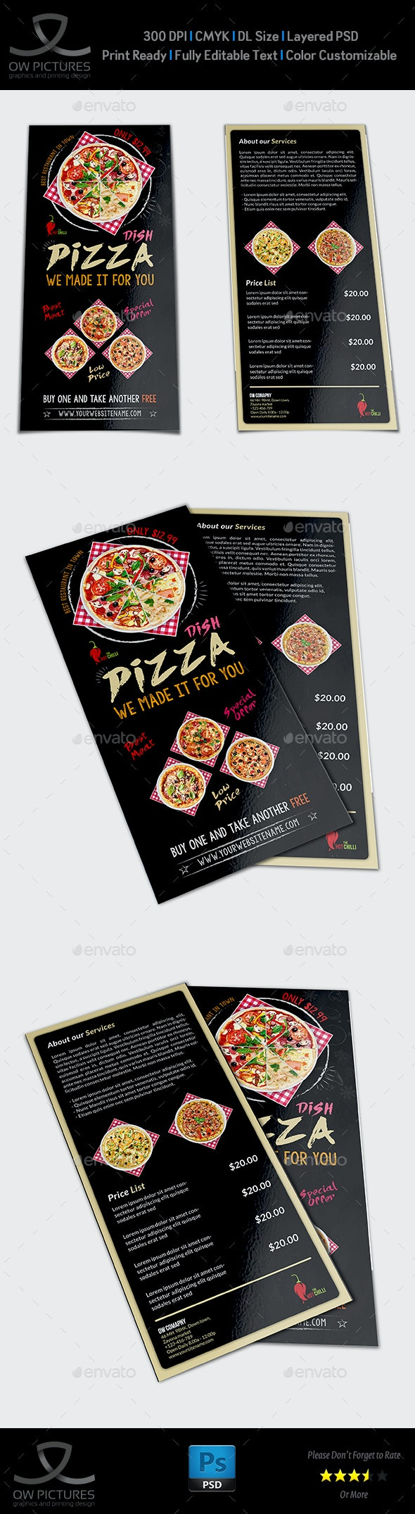 Pizza Restaurant Flyer  - DL Size Vol.2 - Restaurant Flyers