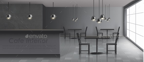 Modern Restaurant, Cafe Realistic Vector Interior - Buildings Objects