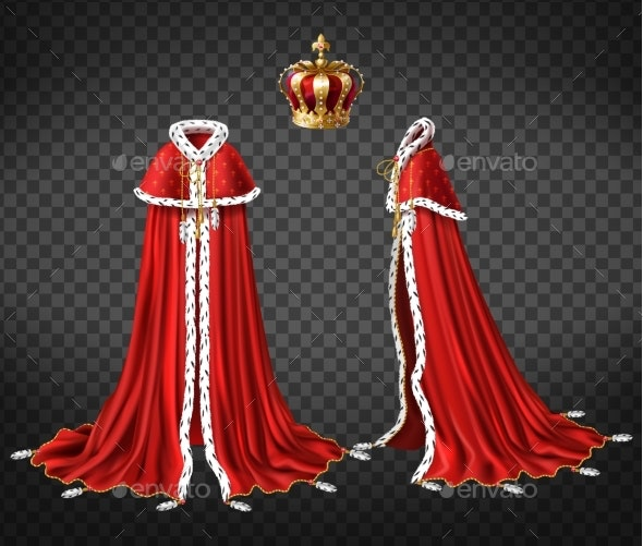 Medieval Monarch Royal Garment Realistic Vector - Man-made Objects Objects