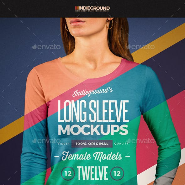 Women Long Sleeve T-Shirt Mockups