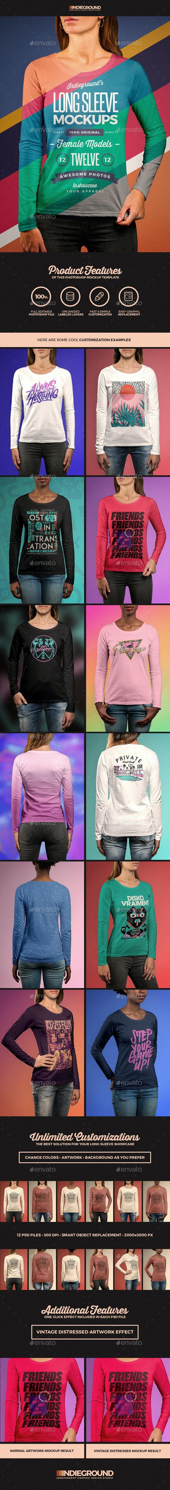 Women Long Sleeve T-Shirt Mockups - T-shirts Apparel