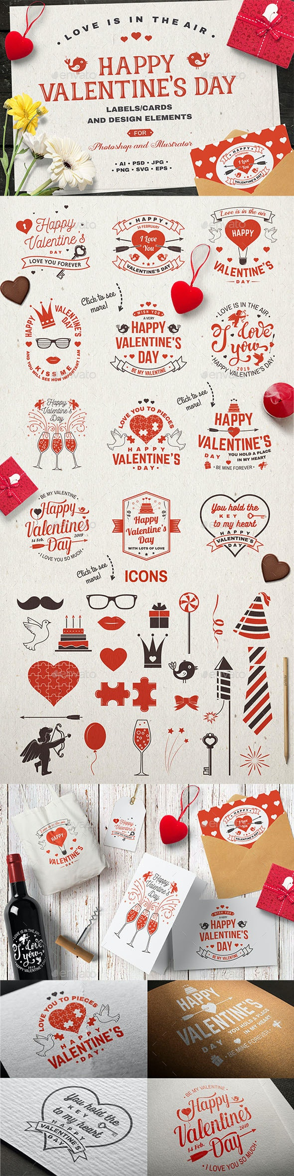 Happy Valentine's Day Collection - Badges & Stickers Web Elements
