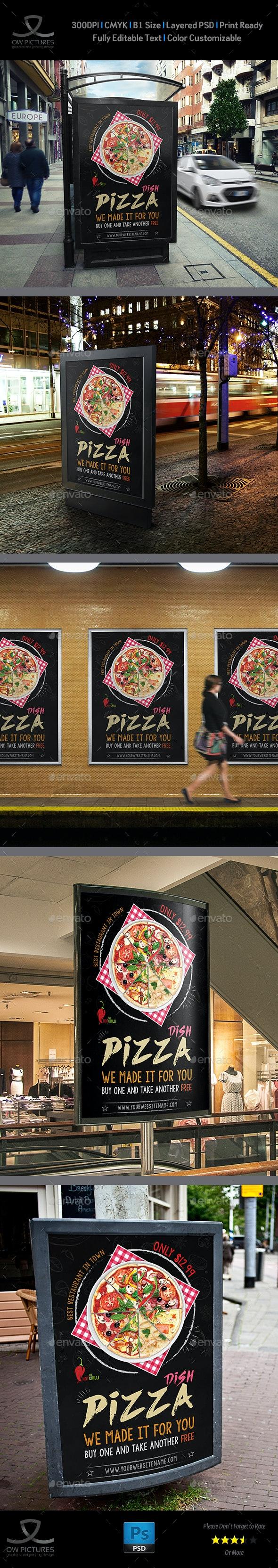Pizza Restaurant Poster Template Vol.3 - Signage Print Templates