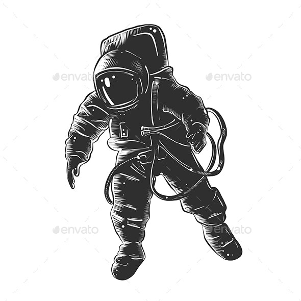 Hand Drawn Sketch of Astronaut In Monochrome - Miscellaneous Vectors