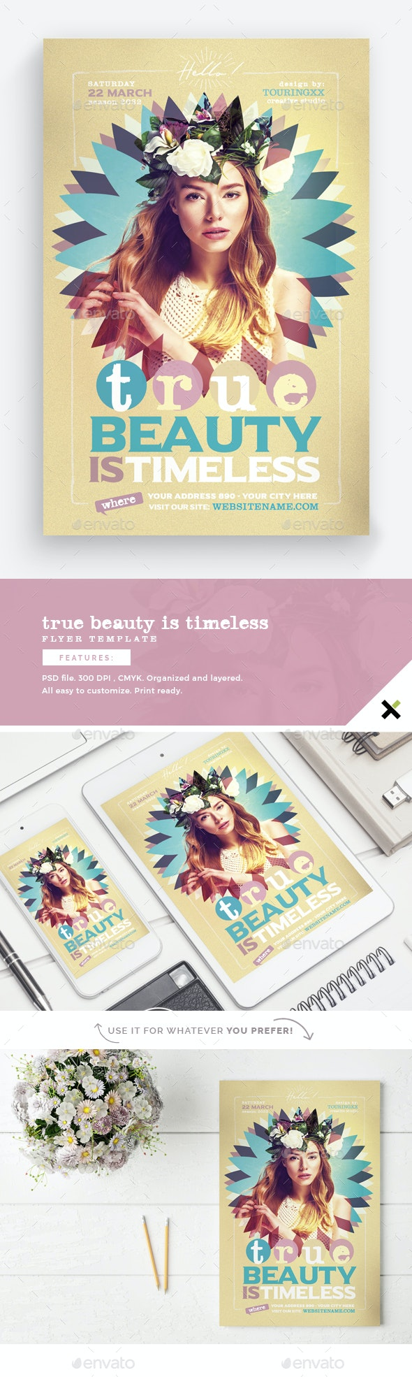 True Beauty Is Timeless Flyer Template - Events Flyers