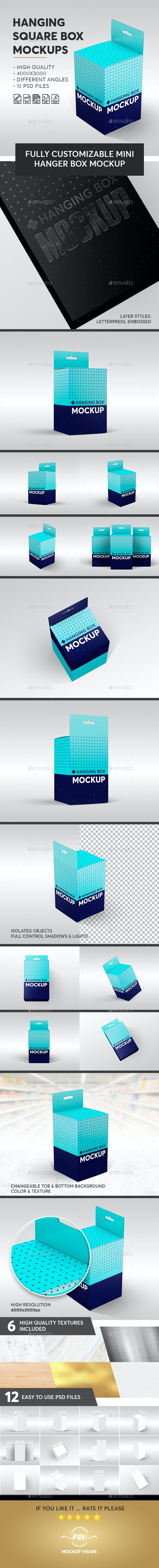 Hanging Square Box Mockups V.2 - Miscellaneous Packaging