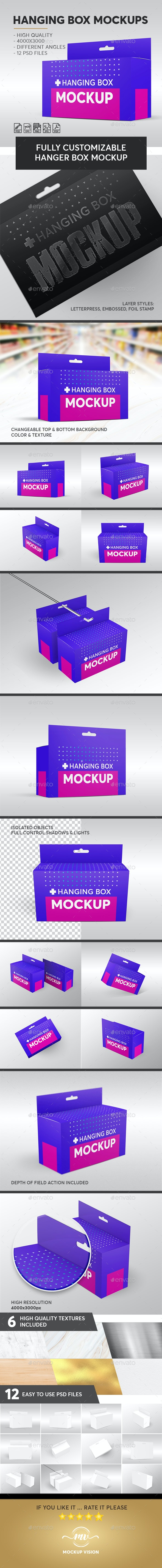 Hanging Rectangle Box Mockups V.2 - Miscellaneous Packaging