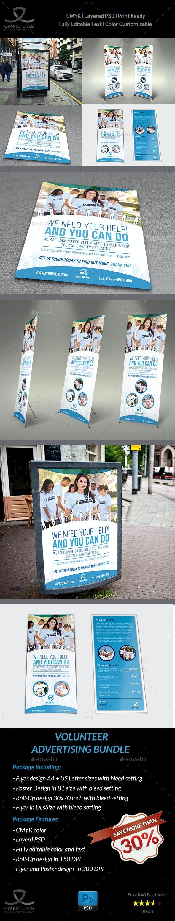 Volunteer / Charity Advertising Bundle Vol.3 - Signage Print Templates