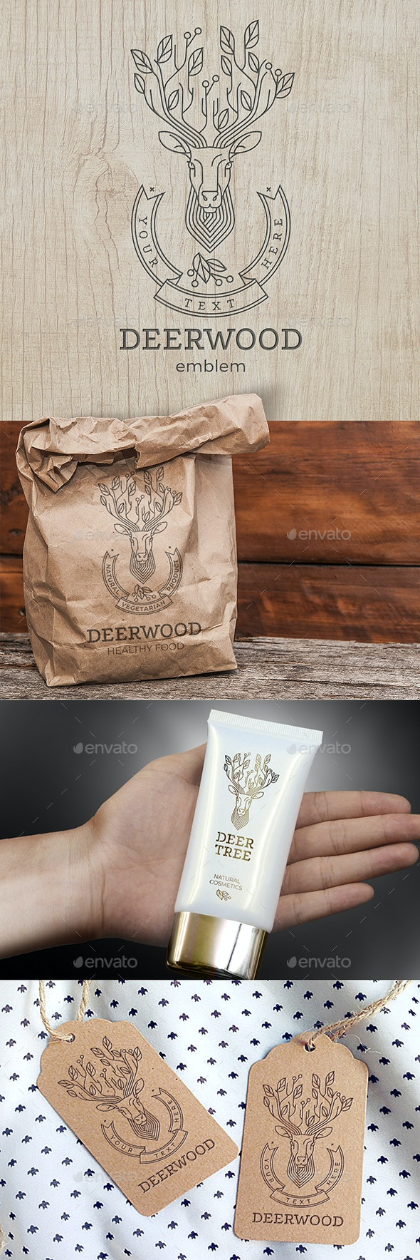 Ecological logo with a deer with a tree instead of horns. Wonderful memorable emblem for the brand o - Animals Logo Templates