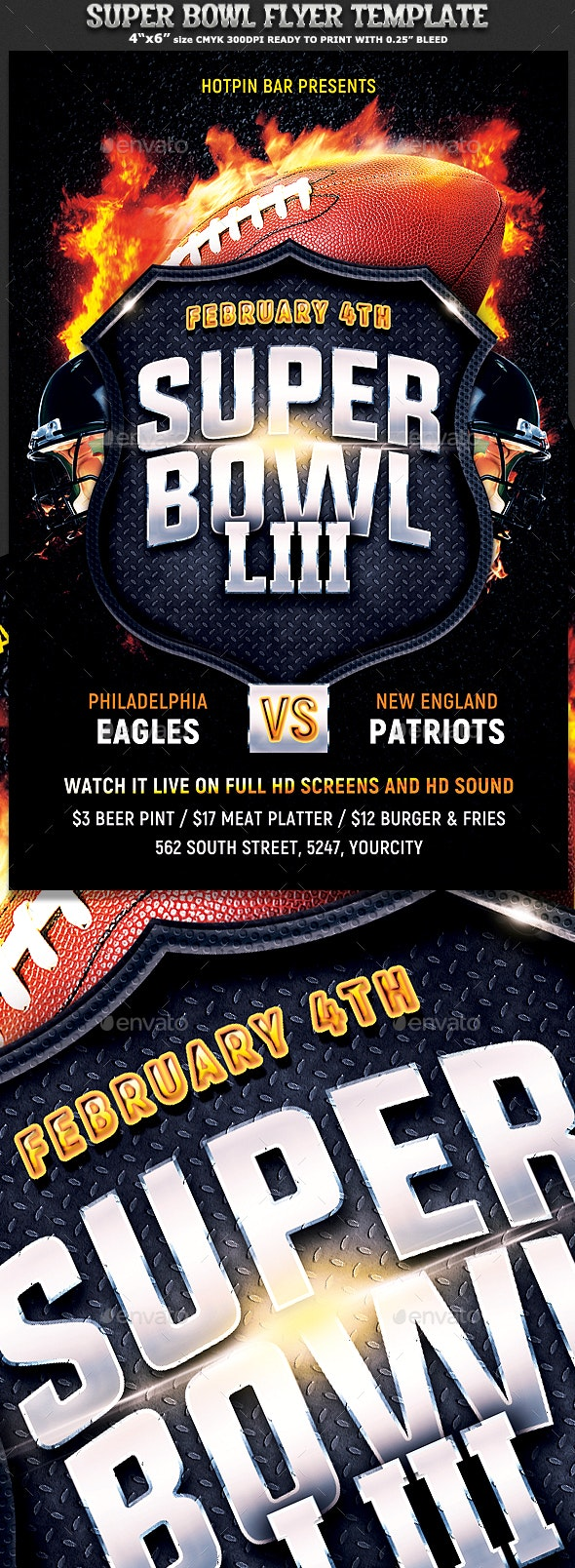 Football Super Bowl Flyer Template - Sports Events