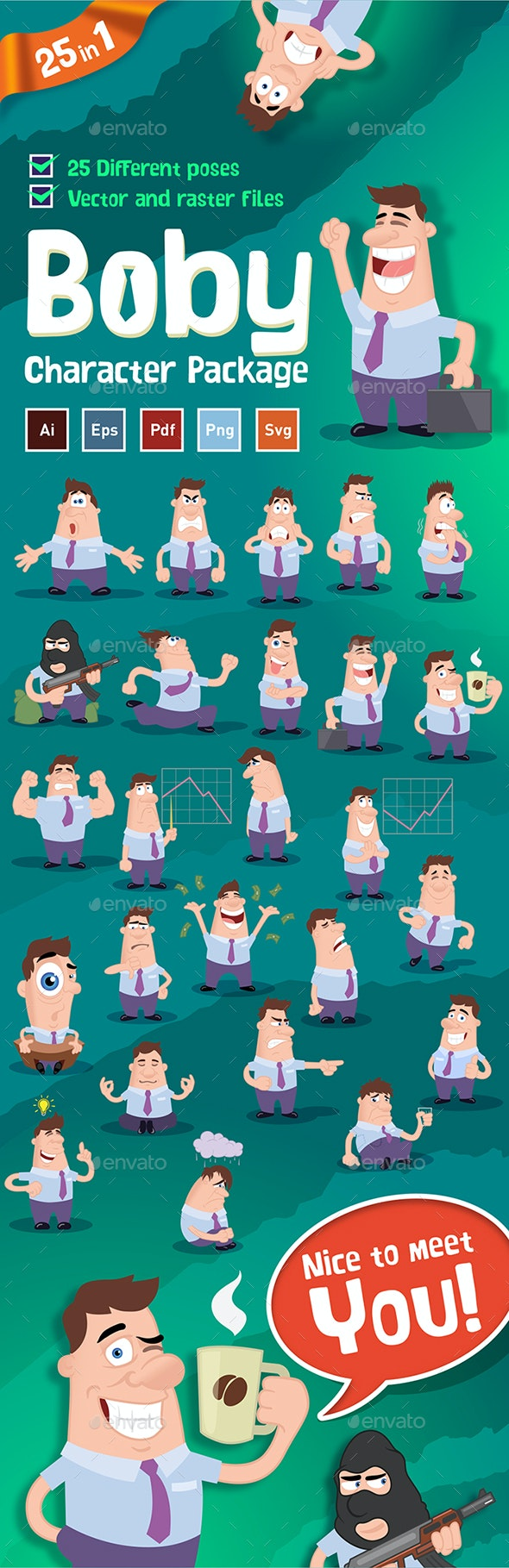 Boby -  Business Character Mascot Pack - People Characters