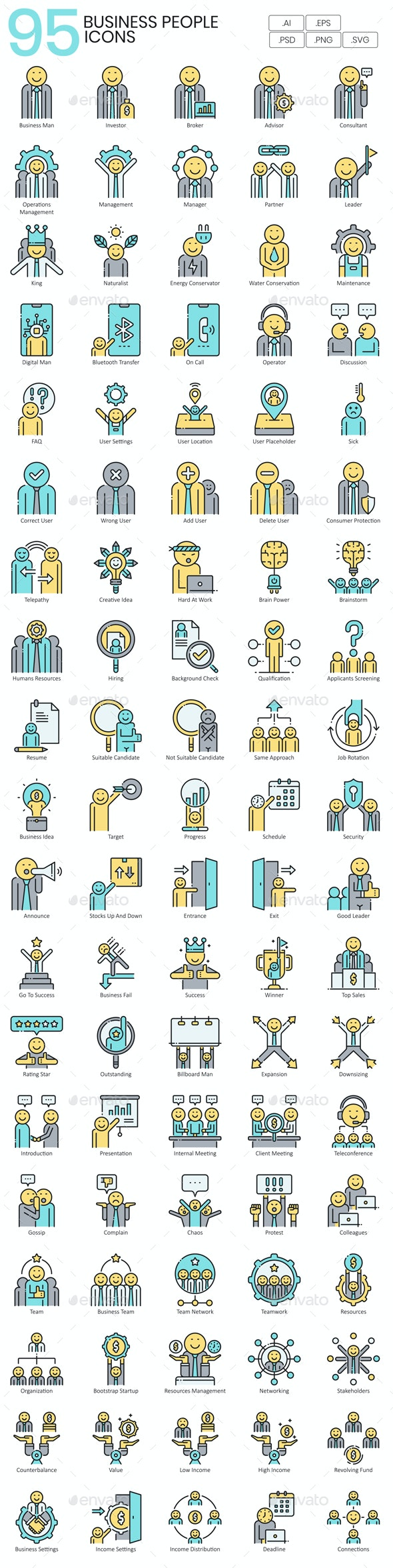 Business People Icons - Aqua Series - Business Icons