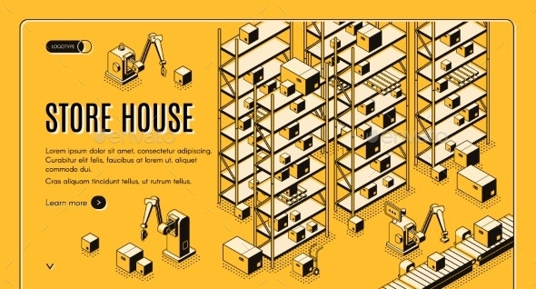Automated Storehouse Isometric Vector Web Banner - Miscellaneous Vectors