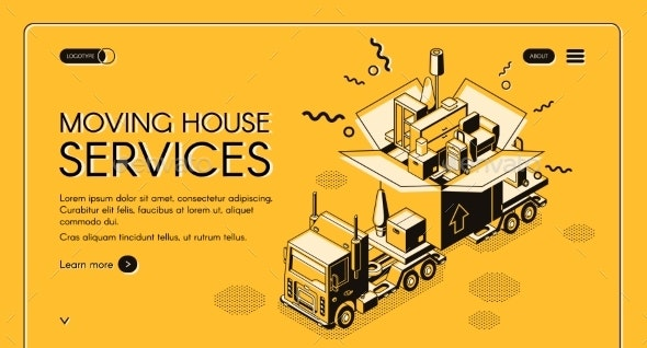 Moving House Services Vector Webpage Template - Miscellaneous Vectors