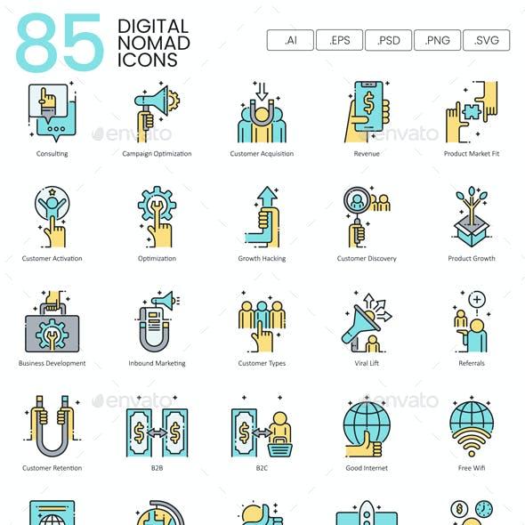 Digital Nomad Icons - Aqua Series