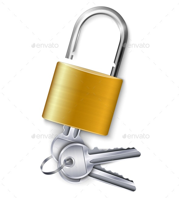 Gold  Padlock With Three Keys - Man-made Objects Objects
