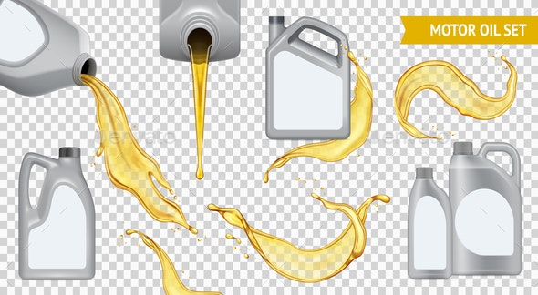 Realistic Motor Oil Transparent Icon Set - Industries Business