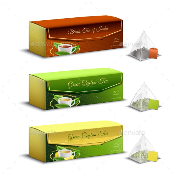 Tea Packaging Realistic Design - Food Objects