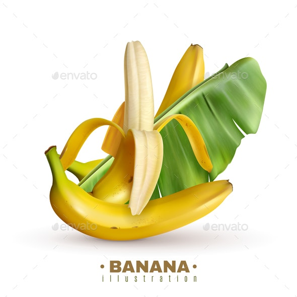 Fruit Banana Realistic Background - Food Objects