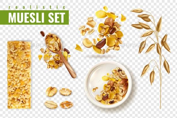 Cereal Muesli Transparent Set - Food Objects