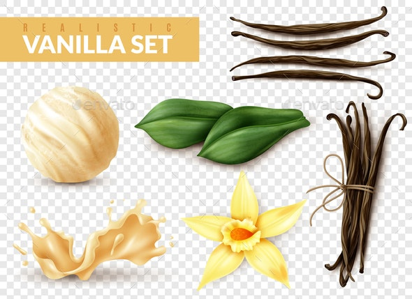 Vanilla Set Realistic Transparent - Food Objects