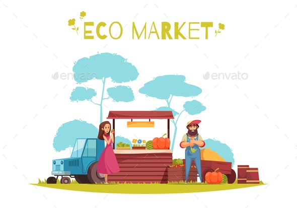 Eco Market Horticulture Cartoon Illustration - Food Objects