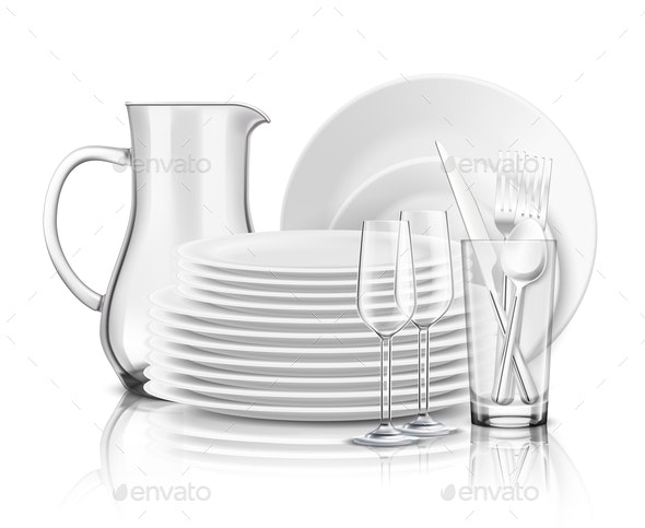 Clean Tableware Realistic Design Concept - Man-made Objects Objects