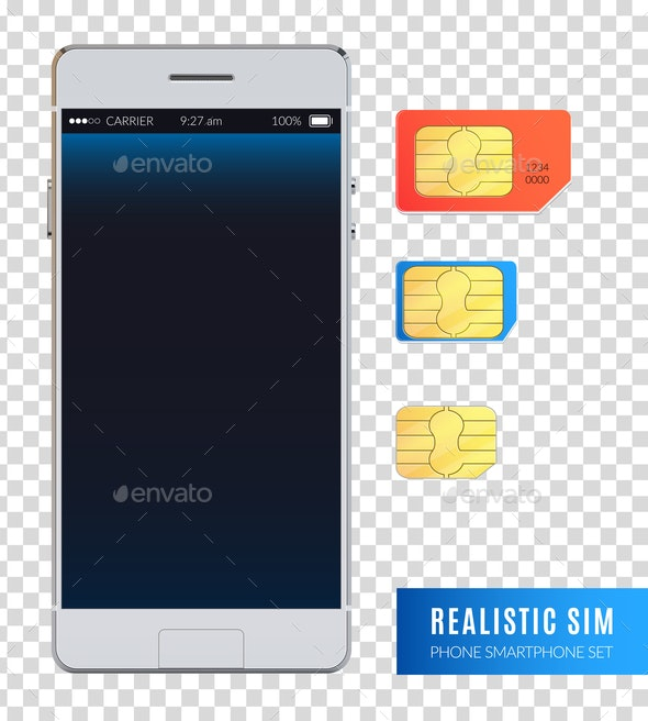 Realistic Sim Phone Smartphone Icon Set - Computers Technology