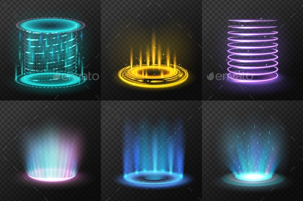 Realistic Colorful Magic Portals Set - Abstract Conceptual