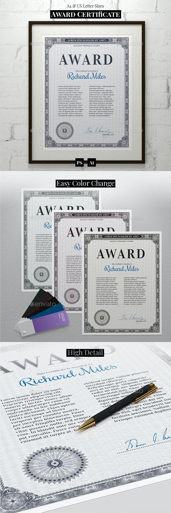 Award Certificate - Certificates Stationery