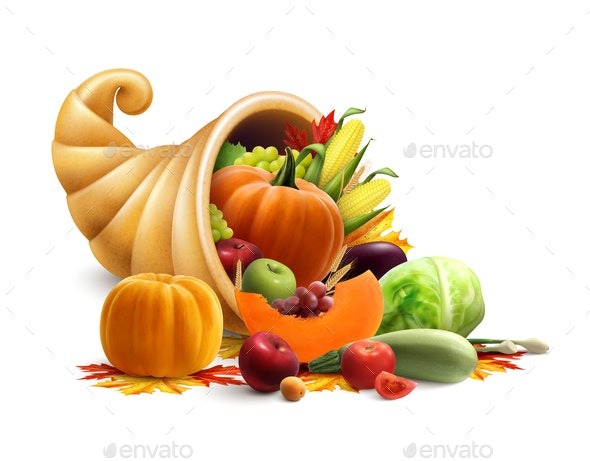 Cornucopia Full of Vegetables and Fruits - Food Objects