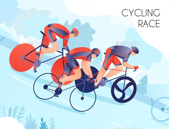 Cycling Race Illustration - Sports/Activity Conceptual