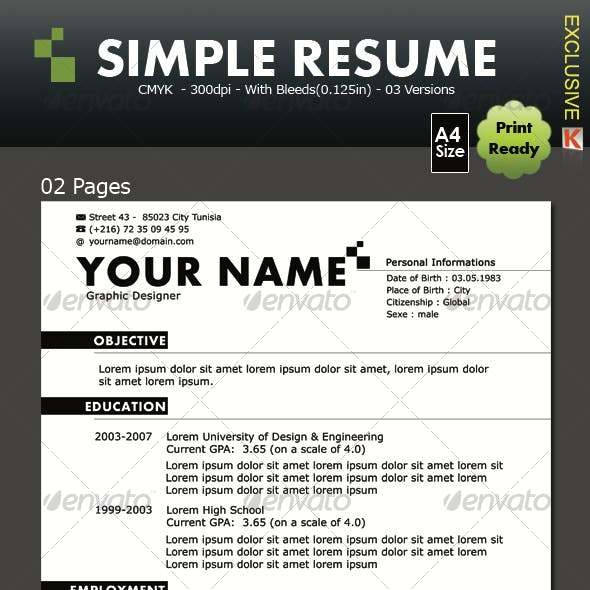 Simple Resume (02 pages & 03 versions)