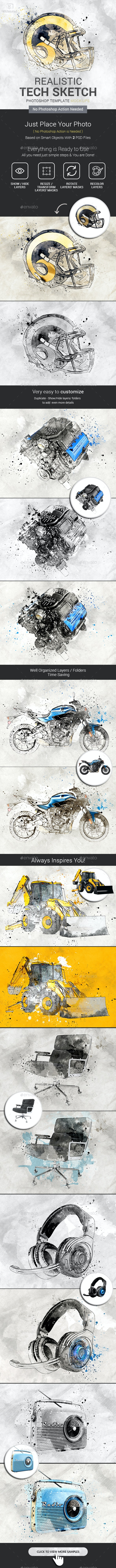 Tech Sketch Photoshop Template Mock-Ups - Photo Templates Graphics