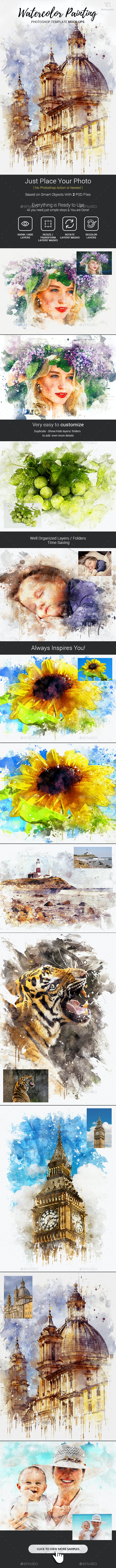 Amazing Watercolor Painting Art Photoshop Templates Mock-Ups - Photo Templates Graphics